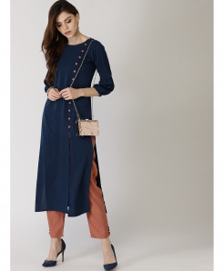 Navy Long Side Button Neck Style Ladies Kurti ALK-133