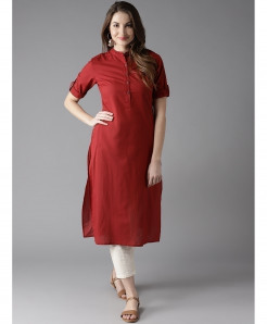 Maroon Pleated Shoulder Style Ladies Kurti ALK-129