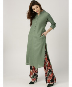 Sage Green Y Neck Button Style Ladies Kurti ALK-126
