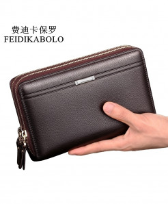 FEIDIKABOLO Chocolate Double Zipper PU Leather Wallet