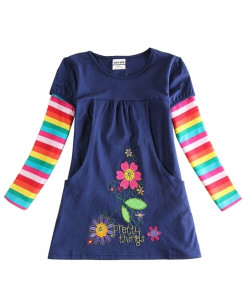 Novatx Navy Girls Floral Long Sleeve Dress