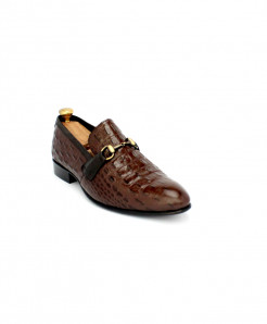 Corio Choco Brown Leather Buckle Up Shoes CSR-JC-199