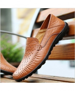 Light Brown Breathable Comfortable Genuine Leather Slip-On Fashion Handmade Loafers