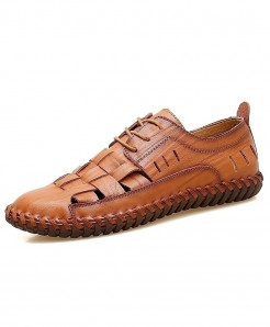 VANCAT Red Brown Handmade Genuine Leather Design Lace-Up Comfortable Loafers
