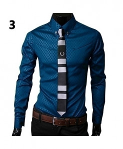 Sapphire Blue Argyle Luxury Business Style Slim Fit Shirt