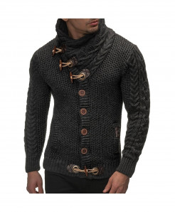 Gray Horns Buckle Thick Hedging Turtleneck Cardigan Slim Sweater