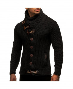 Black Horns Buckle Thick Hedging Turtleneck Cardigan Slim Sweater