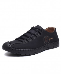 Monstceler Black Leather Round Toe All-Match Handmade Casual Shoes