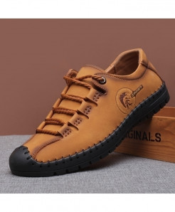 Monstceler Camel Brown Leather Round Toe All-Match Handmade Casual Shoes