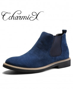 CcharmiX Blue Chelsea Slip On Suede Genuine Leather Boots