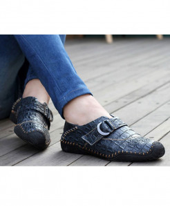 VESONAL Dark Blue Leather Hasp Slip On Handmade Loafers