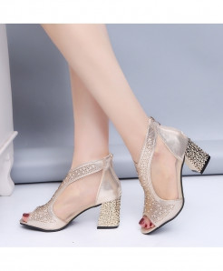 Golden Bling High Heels Diamond Summer Square Heel Leather Sandals