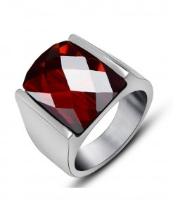 Red Crystal Stainless Steel Ring