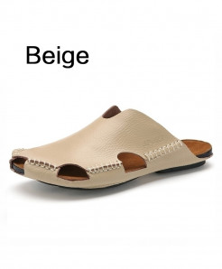 BIMUDUIYU Beige Summer Cool Leather Breathable Men Flip Flops Slipper