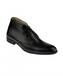 Black Slip On Leather Chukka Shoes LC-315