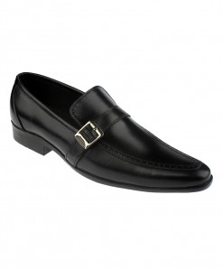 Black Slip On Leather Formal Shoes LC-316