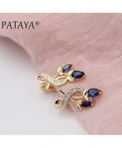 PATAYA Blue Crystal 585 Floral Cubic Zircon Drop Earrings