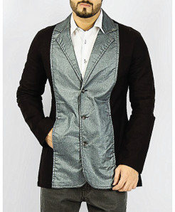 Black And Grey Coated Design Casual Blazer