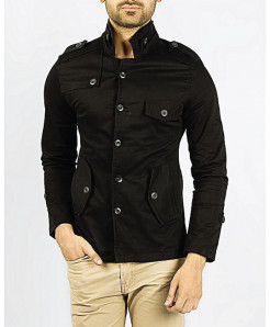 Black High Collar Modern Style Slim Fit Fashion Blazer