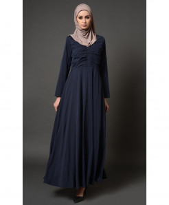 Navy Blue Front Pleated Style Ladies Abaya FLK-402
