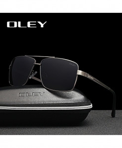 OLEY Square Gun Gray  Polarized Stainless Steel Sunglasses
