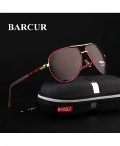 BARCUR Red Aluminum Magnesium Polarized Sunglasses