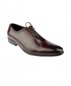 Burgundy Leather Lace Up Style Formal Shoes LC-330