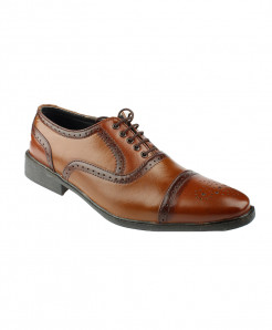 Mustard Brown Leather Dotted Formal Shoes LC-331