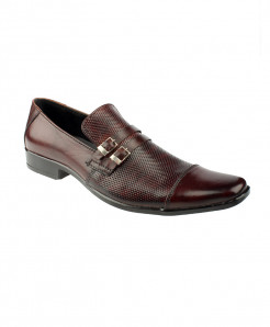 Burgundy Leather Dotted Slip On Formal Shoes LC-333