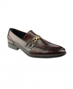 Choco Brown Leather Loafer Shoes LC-337