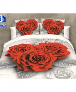 Red Roses Cotton Satin 3D Bedsheet SD-0533
