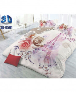 Floral Eiffel Cotton Tower Satin 3D Bedsheet SD-0561