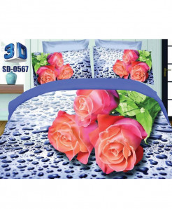 Pink Rose Satin Cotton 3D Bedsheet SD-0567