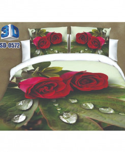 Red Rose Satin Cotton 3D Bedsheet SD-0572