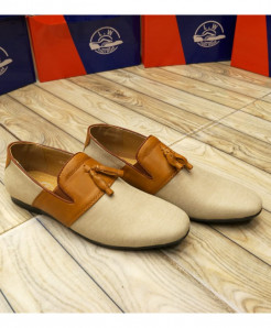 Off White Brown Bow Knotted Style Loafers LW-7127