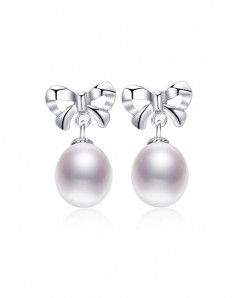 Daimi White 9mm Natural Pearl 925 Silver Butterfly Earrings