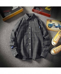 Gray Plaid Slim Cotton Casual Single Breasted Shirt