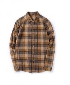 MIACAWOR Brown Plaid Checkered Cotton Casual Shirt