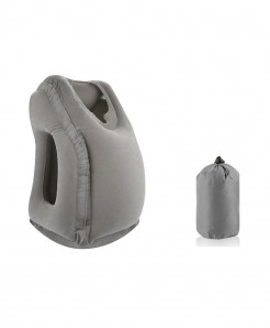 XC USHIO Gray Inflatable Travel Pillow Air Soft Cushion