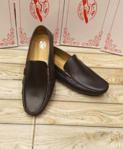 Plain Brown Stitched Design Slip-on Loafers LW-7151