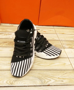 Black White Stripped Style Casual Shoes LW-7152
