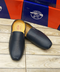 Navy Blue Stitched Dotted Style Loafers  LW-7154