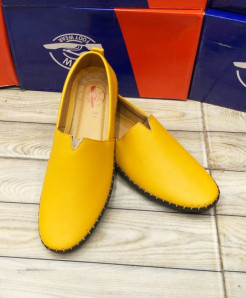 Plain Yellow Stitched Design Loafers LW-7156