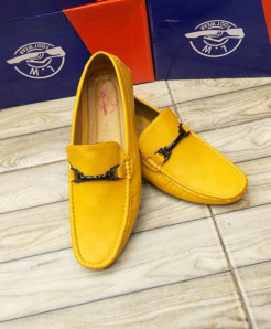 Yellow Stitched Buckle Design Loafers LW-7158