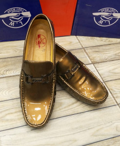 Golden Stitched Buckle Design Loafers LW-7159