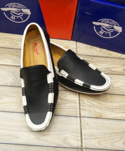 Black White Stitched Design Loafers LW-7161