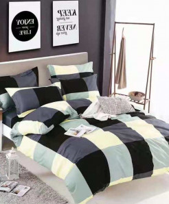 Black White Checkered Cotton Bedsheet RB-7077