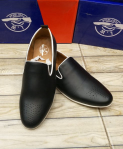 Black White Side Lining  Design Loafers LW-7166