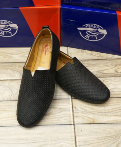 Matt Black Dotted Stitched Design Loafers LW-7172