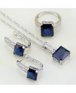 Blue Rhinestone White CZ Costume Jewelry 925 Sterling Silver  Jewelry Set